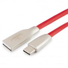 Кабель USB 2.0 A-->C,  1м Cablexpert <CC-G-USBC01R-1M>, серия Gold, красный