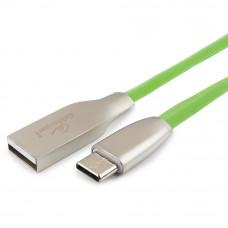 Кабель USB 2.0 A-->C,  1м Cablexpert <CC-G-USBC01Gn-1M>, серия Gold, зеленый