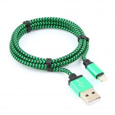 Кабель USB 2.0 A(m) --> Lightning  1м Cablexpert <CC-ApUSB2gn1m> зеленый (ОПЛЕТКА)