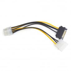 Разветвитель питания Molex + SATA --> 1xPCI express (для в/карт 8pin) Cablexpert CC-PSU-82