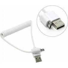 Кабель USB 2.0 A --> microB 5P  1м, спиральный