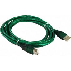 Кабель USB 2.0 удлинитель A,  1.8м AOpen <ACU202-1.8MTG> прозр. из.