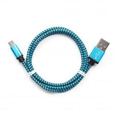 Кабель USB 2.0 A-->microB 5P  1м Cablexpert <CC-mUSB2bl1m> оплетка, алюминиевые разъемы, синий