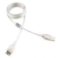 Кабель USB 2.0 удлинитель A,  1.8м Cablexpert <CCF-USB2-AMAF-TR-6> прозрачный