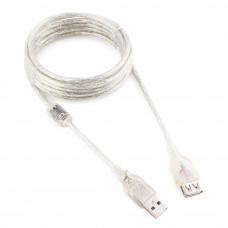 Кабель USB 2.0 удлинитель A,  3м Cablexpert <CCF-USB2-AMAF-TR-10> прозрачный