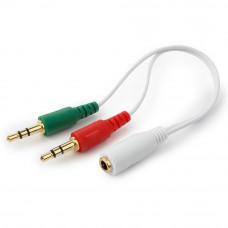 Кабель Audio MiniJack(f) - 2*MiniJack(m) Cablexpert <CCA-418W> науш. + микр. --> 4 pin бел.