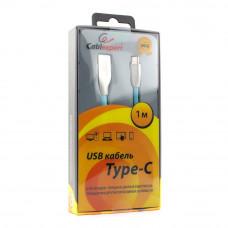 Кабель USB 2.0 A-->C,  1м Cablexpert <CC-G-USBC01Bl-1M>, серия Gold, синий
