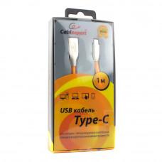 Кабель USB 2.0 A-->C,  1м Cablexpert <CC-G-USBC01O-1M>, серия Gold, оранжевый