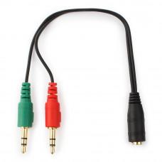 Кабель Audio MiniJack(f) - 2*MiniJack(m) Cablexpert <CCA-418> науш. + микр. --> 4 pin черн.