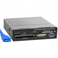 "Card Reader Int.3.5"" <Black> Ginzzu <GR-166UB>  + USB 3.0 port"