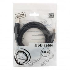 Кабель USB 2.0 A-->B, 1.8м проф. Cablexpert <CCF2-USB2-AMBM-6> фер.кольц., поз.конт., черный
