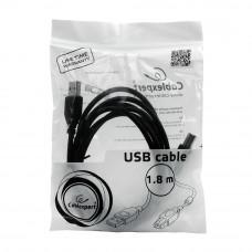 Кабель USB 2.0 A-->B, 1.8м проф. <CCF-USB2-AMBM-6> феррит.кольц., позол.конт., черный