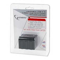 Концентратор USB 2.0 3 порта Gembird <UHB-FD1> + CF/MS/SD/MMC/T-Flash/XD reader