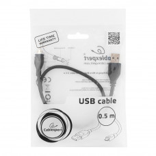 Кабель USB 2.0 A-->microB 5P  0.5м <Gembird/Cablexpert> <CCP-mUSB2-AMBM-0.5M>