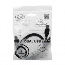 Кабель USB 2.0 A-->2xAM/miniBM 5P 0.9м проф. Gembird/Cablexpert <CCP-USB22-AM5P-3>