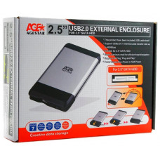 "Flexi-Drive EXT AgeStar <SUB2A5>, 2.5""SATA,алюм,серебр,USB2.0"