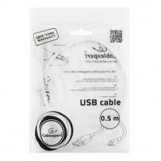 Кабель USB 2.0 A-->microB 5P  0.5м <Gembird/Cablexpert> <CCP-mUSB2-AMBM-W-0.5M>