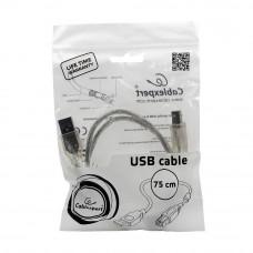 Кабель USB 2.0 A-->B,  0.75м проф. <CCF-USB2-AMBM-TR-0.75M> феррит.кольц., позол.конт., черный