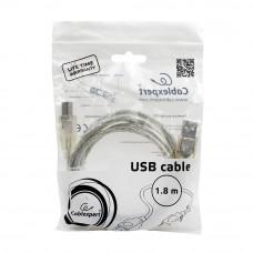 Кабель USB 2.0 A-->B, 1.8м проф. Cablexpert <CCF-USB2-AMBM-TR-6> фер.кольц., поз.конт., прозрачный