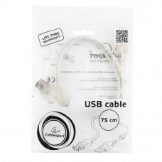 Кабель USB 2.0 удлинитель A,   0.75м Cablexpert CCF-USB2-AMAF-TR-0.75M прозрачный