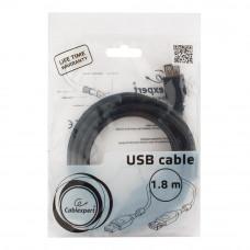 Кабель USB 2.0 удлинитель A,  1.8м проф. Cablexpert <CCF2-USB2-AMAF-6> фер.кольц., поз.конт., черный
