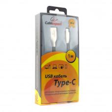 Кабель USB 2.0 A-->C,  1м Cablexpert <CC-G-USBC01Bk-1M>, серия Gold, черный