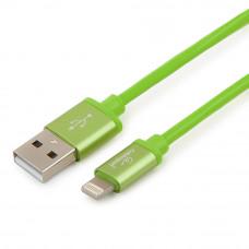 Кабель USB 2.0 A(m) --> Lightning  1м Cablexpert <CC-S-APUSB01Gn-1M> серия Silver, зеленый