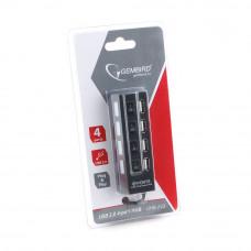Концентратор USB 2.0 4 порта Gembird <UHB-243-AD> с подсветкой и выключателем